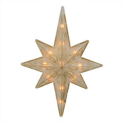 """11.75"""" Lighted Gold Glitter Star of Bethlehem Christmas Tree Topper - Clear Lights"""""""