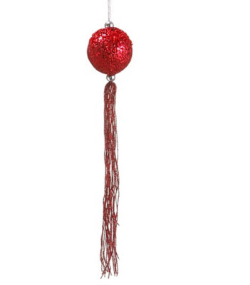 "12"" Christmas Brites Red Glitter Christmas Ball Ornament with Tassels and Beads"""