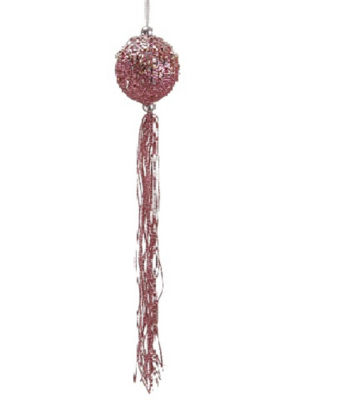 "12"" Pretty in Pink Glitter Christmas Ball Ornamentwith Tassels and Silver Beads"""