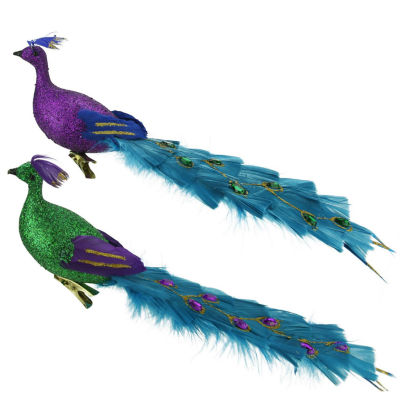 """12"""" Regal Peacock Glittered Purple  Green and BlueBird Clip-On Christmas Ornament"""""""