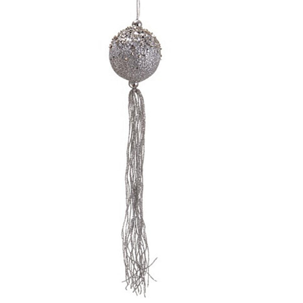 "12"" Seasons of Elegance Silver Glitter Christmas Ball Ornament with Tassels"""