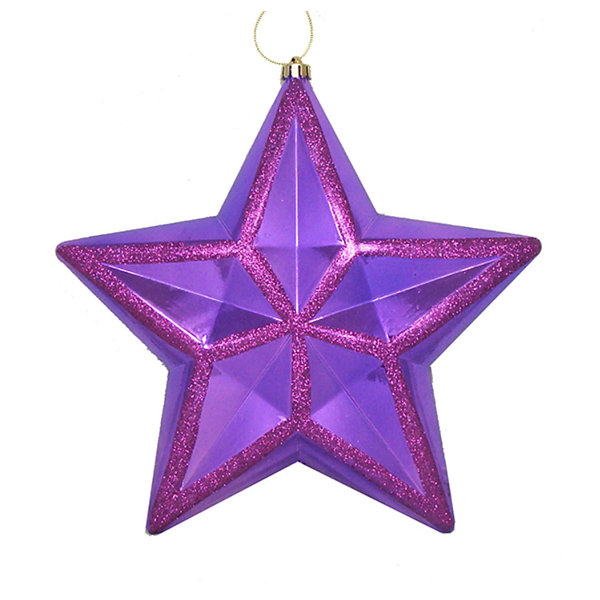 "12"" Shiny Purple Glitter Commercial Size Shatterproof Star Christmas Ornament"""