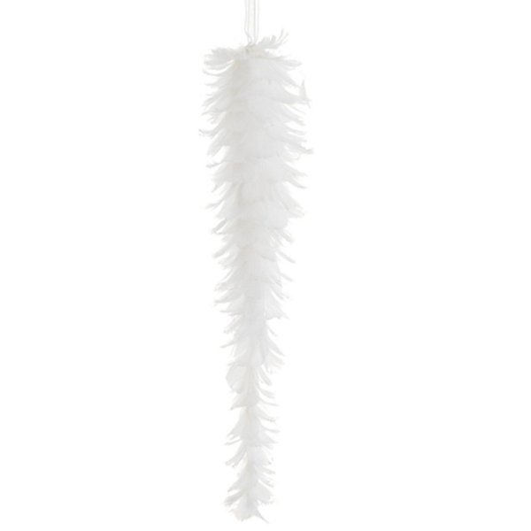 "12"" Tell a Story White Feather Glittered Icicle Drop Christmas Ornament"""