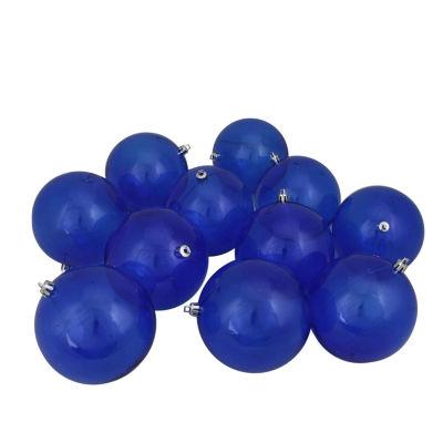 "12ct Blue Transparent Shatterproof Christmas BallOrnaments 4"" (100mm)"""