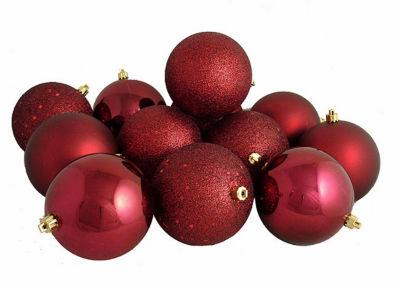 "12ct Burgundy Red Shatterproof 4-Finish ChristmasBall Ornaments 4"" (100mm)"""