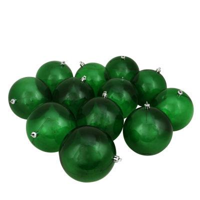 "12ct Green Transparent Shatterproof Christmas BallOrnaments 4"" (100mm)"""