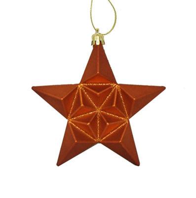 "12ct Matte Burnt Orange Glittered Star Shatterproof Christmas Ornaments 5"""