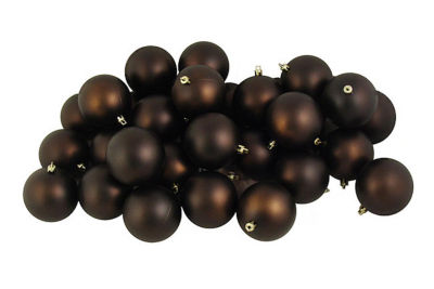 "12ct Matte Chocolate Brown Shatterproof ChristmasBall Ornaments 4"" (100mm)"""