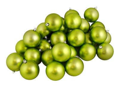 "12ct Matte Green Kiwi Shatterproof Christmas BallOrnaments 4"" (100mm)"""
