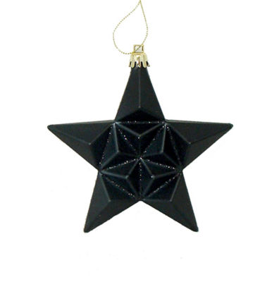 12ct Matte Jet Black Glittered Star Shatterproof Christmas Ornaments 5""