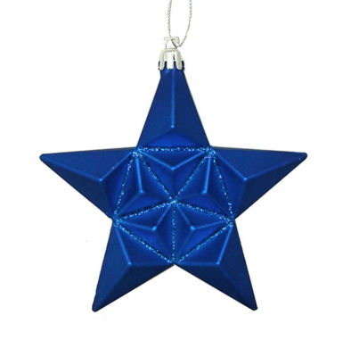 "12ct Matte Lavish Blue Glittered Star ShatterproofChristmas Ornaments 5"""