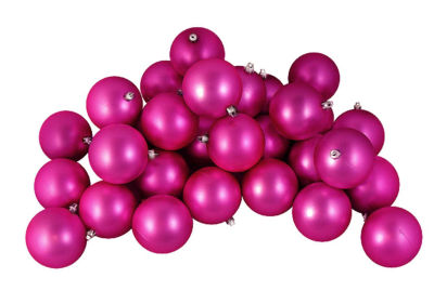 "12ct Matte Pink Magenta Shatterproof Christmas Ball Ornaments 4"" (100mm)"""