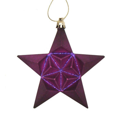 12ct Matte Purple Glittered Star Shatterproof Christmas Ornaments 5""