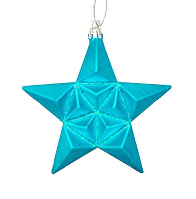 """12ct Matte Turquoise Blue Glittered Star Shatterproof Christmas Ornaments 5"""""""