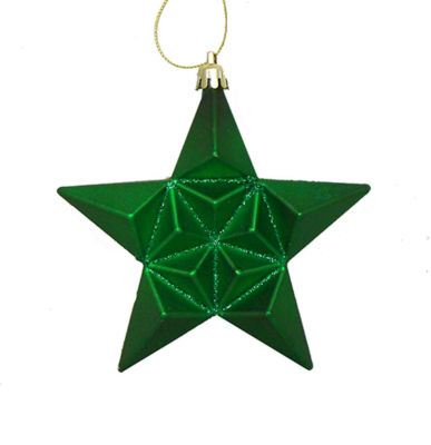 12ct Matte Christmas Green Glittered Star Shatterproof Christmas Ornaments 5""