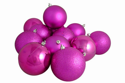"12ct Pink Magenta Shatterproof 4-Finish ChristmasBall Ornaments 4"" (100mm)"""