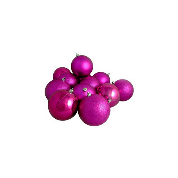 "12ct Shatterproof Light Magenta Pink 4-Finish Christmas Ball Ornaments 4"" (100mm)"""