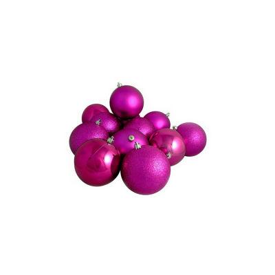 "12ct Shatterproof Light Magenta Pink 4-Finish Christmas Ball Ornaments 4"" (100mm)"""