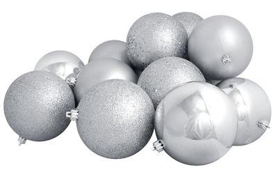 "12ct Shatterproof Silver Splendor 4-Finish Christmas Ball Ornaments 4"" (100mm)"""