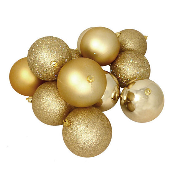"12ct Shatterproof Vegas Gold 4-Finish Christmas Ball Ornaments 4"" (100mm)"""