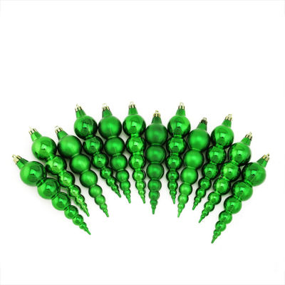 12ct Shiny and Matte Christmas Green Finial Shatterproof Christmas Ornaments 6""