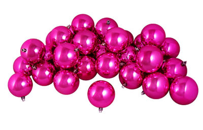 "12ct Shiny Pink Magenta Shatterproof Christmas Ball Ornaments 4"" (100mm)"""
