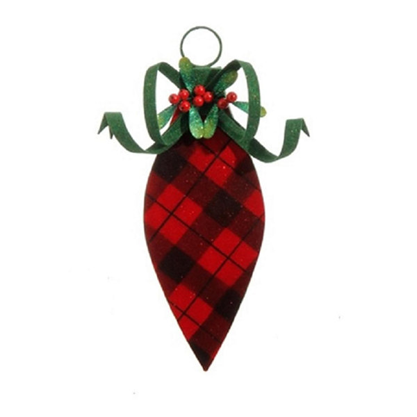 "13"" Country Cabin Flocked Black and Red Plaid Finial Christmas Ornament"""