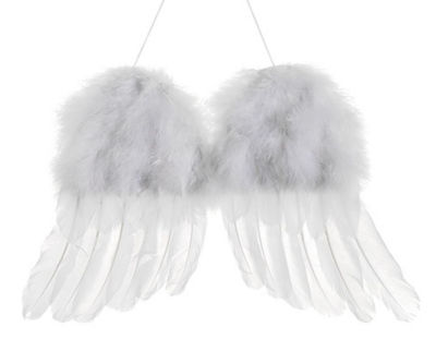 "13"" Winter Solace Snow White Faux Feather Cherub Angel Wings Christmas Ornament"""