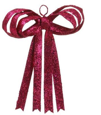 "13.5"" Pretty in Pink Sparkling Fuschia Glitter Christmas Ribbon Bow Decoration"""
