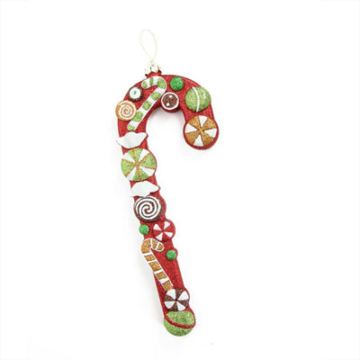 "14"" Merry & Bright Large Multi-Colored Glittered Shatterproof Candy Cane Christmas Ornament"""