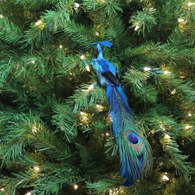 "14"" Regal Peackock Turquoise Blue and Green Plummage Christmas Clip-On Ornament"""