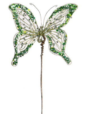 """16"""" Princess Garden Green Butterfly Jeweled & Beaded Floral Craft Pick"""""""