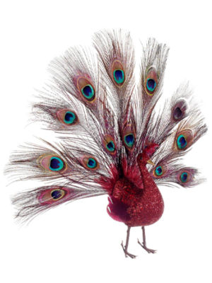 """16"""" Regal Peacock Glitter Drenched Vibrant Red Open-Tail Bird Christmas Ornament"""""""