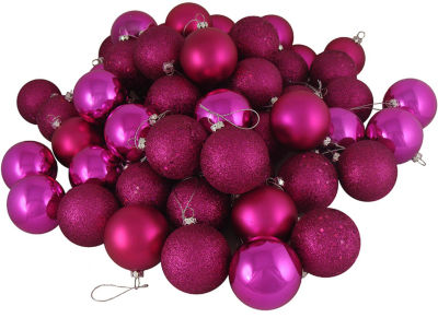 "16ct Pink Magenta Shatterproof 4-Finish ChristmasBall Ornaments 3"" (75mm)"""
