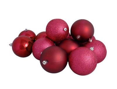 "16ct Red Raspberry Shatterproof 4-Finish ChristmasBall Ornaments 3"" (75mm)"""