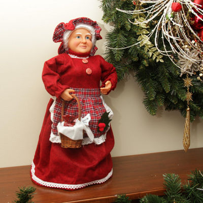 "17"" Mrs. Claus with a Basket of Sweets Christmas Tree Topper or Table Top Decoration"""