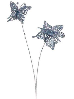 "17"" Princess Garden Whimsical Glitter Butterfly Floral Craft Spray"""