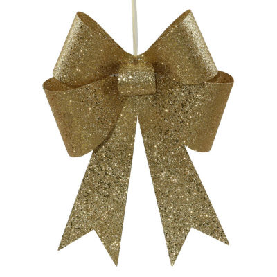 """18"""" Gold Sequin and Glitter Bow Christmas Ornament"""""""