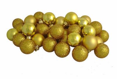 "18ct Antique Gold 4-Finish Shatterproof ChristmasBall Ornaments 1.25"" (30mm)"""