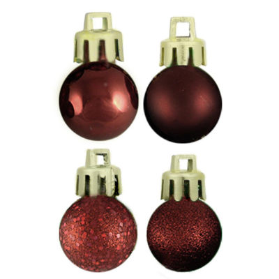 "18ct Burgundy 4-Finish Shatterproof Christmas BallOrnaments 1.25"" (30mm)"""