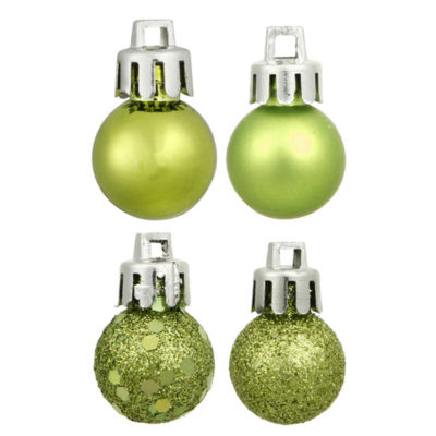 "18ct Green Kiwi 4-Finish Shatterproof Christmas Ball Ornaments 1.25"" (30mm)"""