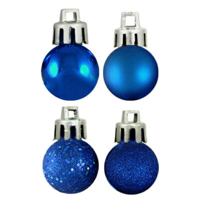 "18ct Lavish Blue 4-Finish Shatterproof Christmas Ball Ornaments 1.25"" (30mm)"""