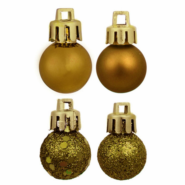 "18ct Olive Green 4-Finish Shatterproof Christmas Ball Ornaments 1.25"" (30mm)"""