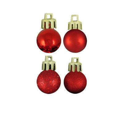 "18ct Red Hot 4-Finish Shatterproof Christmas BallOrnaments 1.25"" (30mm)"""