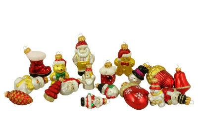 18ct Snowman  Santa  Nutcracker and Gingerbread Glass Figure Christmas Ornaments