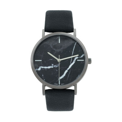 Geneva Platinum Marble Dial Womens Black Strap Watch-10036