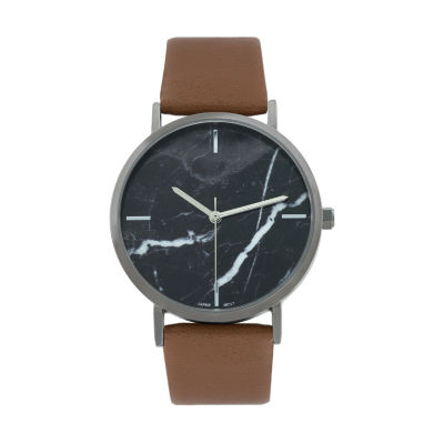 Geneva Platinum Marble Dial Womens Brown Strap Watch-10036
