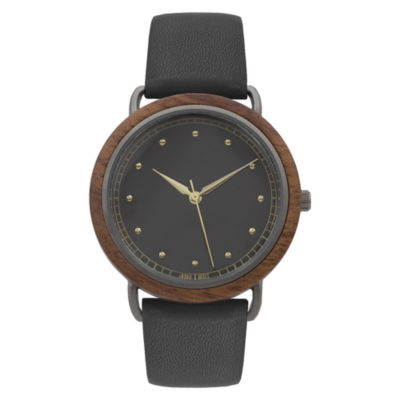Geneva Platinum Wood Bezel Womens Black Strap Watch-10089