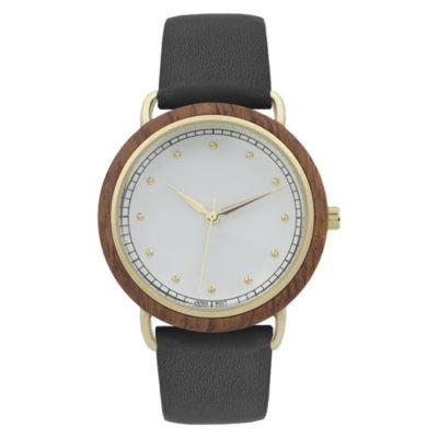 Geneva Platinum Wood Bezel Womens Black Strap Watch-10089