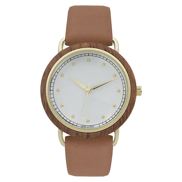 Geneva Platinum Wood Bezel Womens Brown Strap Watch-10089